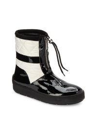 Aquatalia | Black Kali Patent Leather & Quilted Short Boots | Lyst
