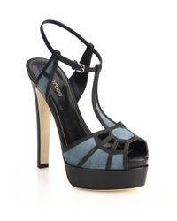 59f2862ef1f Lyst - Sergio Rossi Puzzle Suede  amp  Leather Platform Sandals in Blue