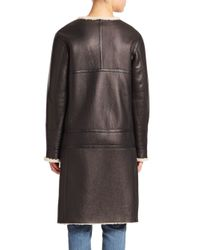 Helmut Lang | Black Leather & Shearling Aviator Coat | Lyst
