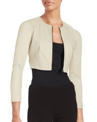 Narciso Rodriguez   Multicolor Long Sleeve Cropped Lambskin Leather Jacket   Lyst