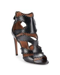 Alaïa | Black Leather Open Toe Sandals | Lyst