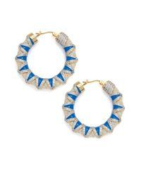 Noir Jewelry | Blue Crystal & Cord Hoop Earrings- 1.5in | Lyst