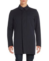 Corneliani   Blue Solid Point Collar Raincoat for Men   Lyst
