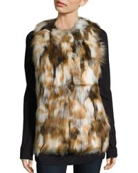 Love Token | Natural Riva Multi-toned Faux Fur Vest | Lyst