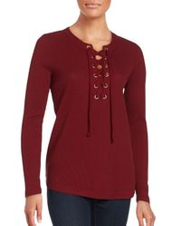 Kensie   Red Solid Cotton Top   Lyst