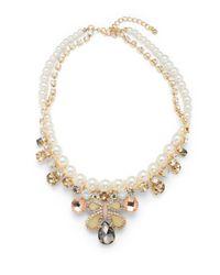 Cara | Metallic Beaded Stone Pendant Necklace | Lyst