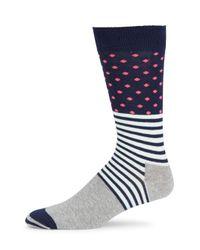 Happy Socks - Blue Cotton Blend Crew Socks - Lyst