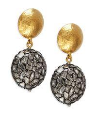 Gurhan | Metallic Spell Slice Diamond, 24k Yellow Gold & Sterling Silver Drop Earrings | Lyst