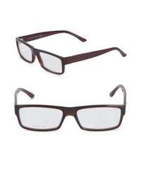 Gucci - Brown 52mm Rectangular Eyeglasses - Lyst