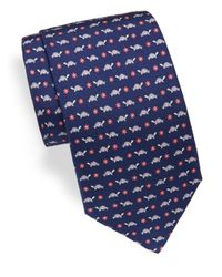 Ferragamo | Blue Corolla Tortoise & Floral Printed Silk Tie for Men | Lyst