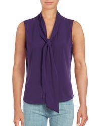 Calvin Klein   Purple Tie Neck Sleeveless Top   Lyst