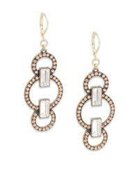 Saks Fifth Avenue | Metallic Paved Circle Drop Earrings | Lyst