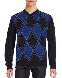 Bugatchi | Blue Diamond-knit Long Sleeve Sweater for Men | Lyst