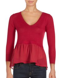 French Connection   Red Ripple Knit Ruffled Top   Lyst