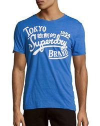 Superdry | Blue Roundneck Printed Cotton Tee for Men | Lyst