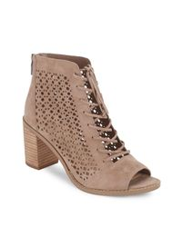 Vince Camuto | Natural Trevan Perforated Suede Booties | Lyst