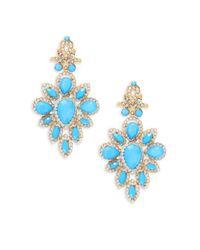 Cara   Blue Cz Chandelier Earrings   Lyst