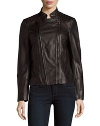 T Tahari | Black Carry Zip-up Leather Jacket | Lyst