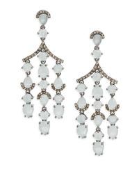 Bavna | Metallic Diamond & Aquamarine Drop Earrings | Lyst