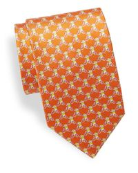 Ferragamo - Orange Elephant-on-bicycle Silk Tie for Men - Lyst