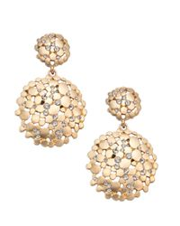 ABS By Allen Schwartz - Metallic Pavé Double Drop Earrings - Lyst