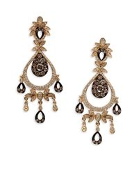 Effy | Metallic 14kt. Yellow Gold Brown And White Diamond Drop Earrings | Lyst