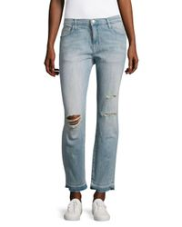 Current/Elliott | Blue The Fling Washed Distressed Jeans | Lyst