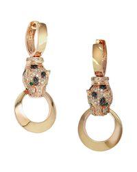 Effy | Metallic Diamond Emerald And 14k Rose Gold Drop Earrings 0.74 Tcw | Lyst