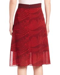 Akris Punto | Red Printed Wool A-line Skirt | Lyst