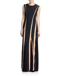 Bottega Veneta | Black Pieced-panel Gown | Lyst