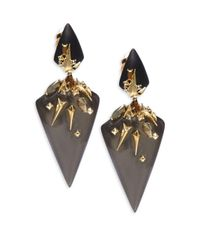 Alexis Bittar | Metallic Lucite, Swarovski Crystal & 10k Yellow Gold Drop Earrings | Lyst