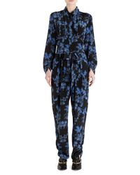 Stella McCartney - Black Floral-print Silk Jumpsuit - Lyst