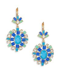 ABS By Allen Schwartz - Blue Jeweled Pendant Drop Earrings - Lyst