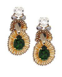 Tataborello | Green Swarovski Crystal Drop Earrings | Lyst