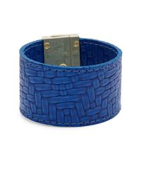 CC SKYE | Blue Embossed Leather Wrap Bracelet | Lyst