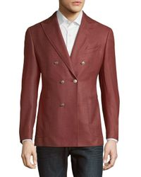 Pal Zileri - Red Solid Double-breasted Jacket for Men - Lyst