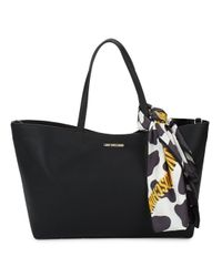 Love Moschino | Black Scarf-accented Tote | Lyst
