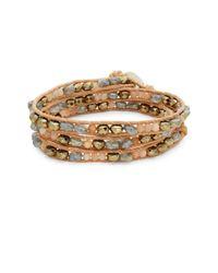 Chan Luu - Metallic Multi-stone & Leather Wrap Bracelet - Lyst