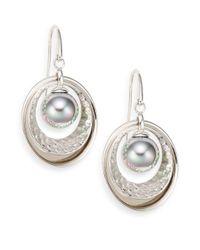 Majorica | Metallic 10mm Grey Pearl & Sterling Silver Earrings | Lyst