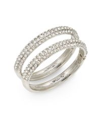 Saks Fifth Avenue - Metallic Half-pavé Hinged Bangle Bracelet Set/silvertone - Lyst