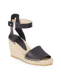 Vince - Black Simona Leather Espadrille Wedge Sandals - Lyst