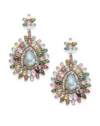 Bavna | Multicolor Diamond, Tourmaline, Labradorite & Sterling Silver Medallion Earrings | Lyst