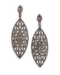 Bavna | Multicolor 5.88 Tcw Diamond & Sterling Silver Marquis Drop Earrings | Lyst