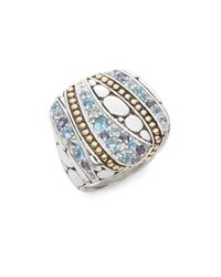 John Hardy | Metallic Kali Aquamarine, Iolite, Swiss Blue Topaz, Sterling Silver & 18k Yellow Gold Lavafire Ring | Lyst