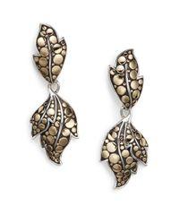 John Hardy | Metallic Dot Ayu Sterling Silver & 18k Yellow Gold Leaf Drop Earrings | Lyst