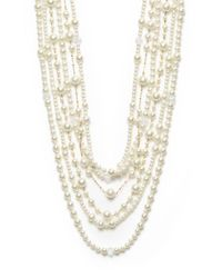 Kenneth Jay Lane - White Multi-row Mixed Strand Necklace - Lyst