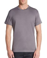 Saks Fifth Avenue | Gray Slim Crewneck Cotton Tee for Men | Lyst