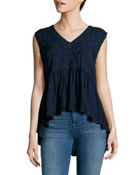 Max Studio - Blue Solid Embroidered Top - Lyst