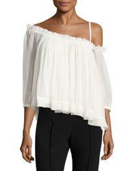Cinq À Sept - White Colette One-shoulder Silk Top - Lyst