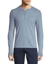 Ben Sherman - Blue Fine Stripe Cotton Henley for Men - Lyst